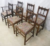 Set of Six Carved Ercol Dark Elm Dining Chairs